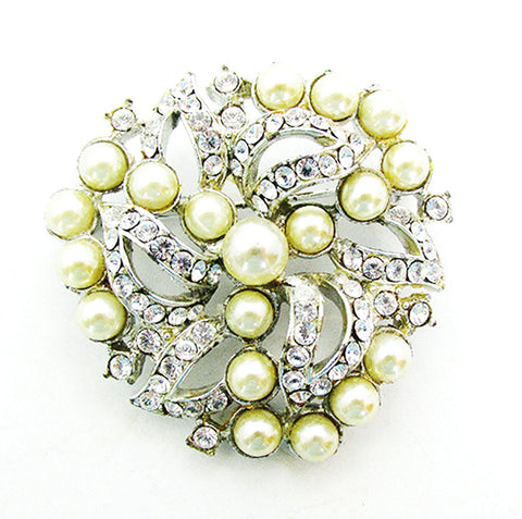 Vintage Costume Jewelry 1950s Mid-Century Diamante and Pearl  Pin - Front