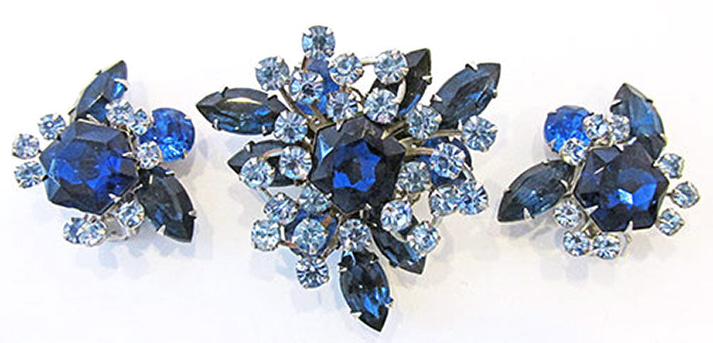Beaujewels Vintage Jewelry 1950s Diamante Sapphire Pin and Earrings