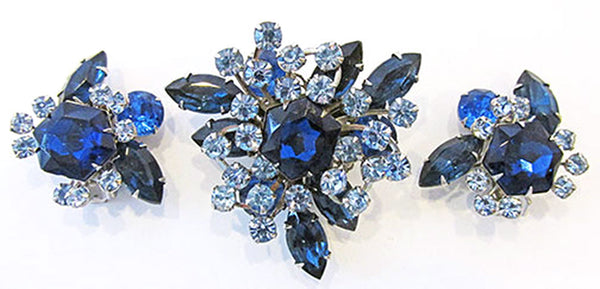 Beaujewels 1950s Vintage Jewelry Sapphire Diamante Pin and Earrings - Front