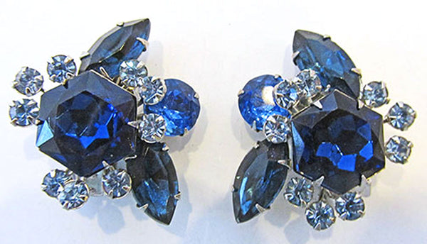 Beaujewels 1950s Vintage Jewelry Sapphire Diamante Pin and Earrings - Earrings