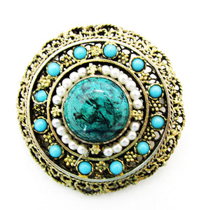 Vintage 1950s Mid-Century Turquoise and Pearl Filigree Pin/Pendant - Front