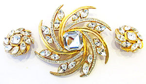 Vintage Retro Avant-Garde Contemporary Style Pin and Earrings Set