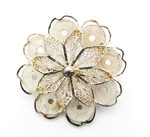 Antique Mid-1800s European Sterling Silver Cannetille Work Floral Pin - Front