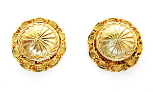 Flawless Vintage Wardrobe Friendly Retro Gold Clip On Button Earrings