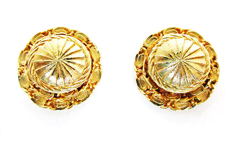 Vintage 1970s Costume Jewelry Wardrobe Friendly Gold Button Earrings - Front