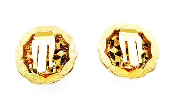 Vintage 1970s Costume Jewelry Wardrobe Friendly Gold Button Earrings - Back