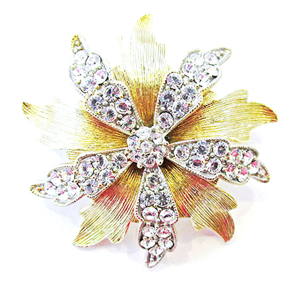 Gorgeous Lisner Vintage Flawless Mid-Century Rhinestone Floral Pin