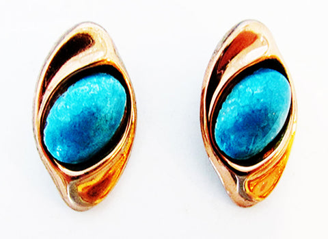 Renoir Matisse 1950s Vintage Mid-Century Turquoise and Copper Earrings - Front