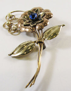 Harry Iskin Vintage Dazzling1940s Gold Filled Floral Bouquet Pin
