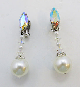 Lewis Segal Vintage Rare Glamorous Rhinestone and Pearl Drop Earrings