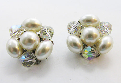 Vintage Retro Pearl and Crystal Button Earrings