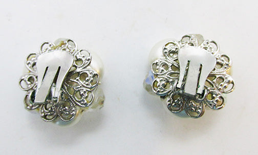 Vintage 1960s Pretty Retro Pearl and Crystal Button Earrings