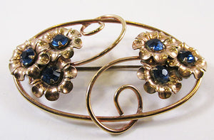 Vintage 1940s Beautiful Gold Filled Sapphire Rhinestone Floral Pin