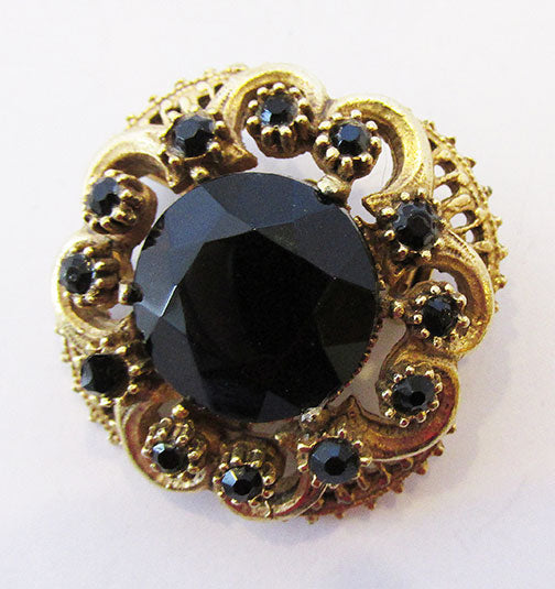Amazing Florenza Vintage Mid Century Onyx Floral Pin