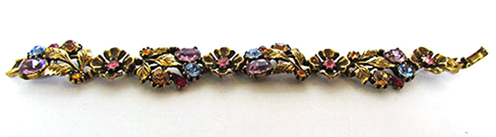 Hollycraft Vintage Jewelry 1950s Multi-Colored Diamante Bracelet - Front