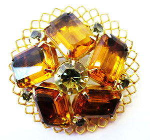 Bold Vintage 1950s Mid-Century Citrine and Topaz Geometric Pin