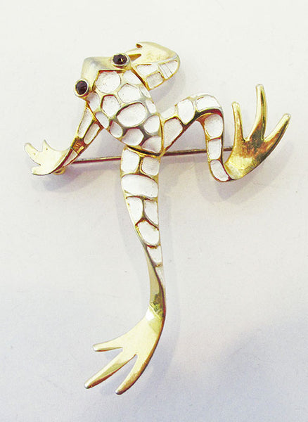 Boucher Vintage 1950s Charming Enamel and Rhinestone Frog Pin