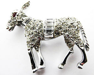 Vintage 1960s Jewelry Adorable Mid-Century Diamante Donkey Pin - Front