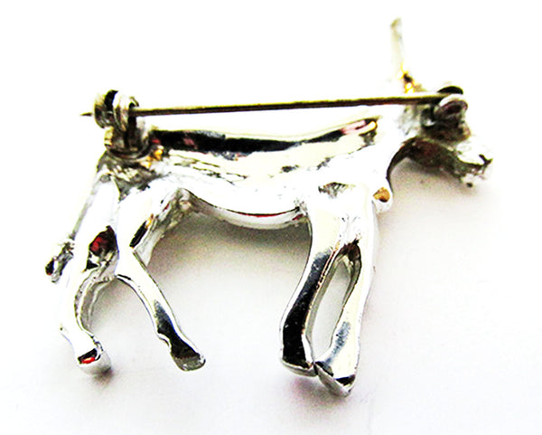 Vintage 1960s Jewelry Adorable Mid-Century Diamante Donkey Pin - Back