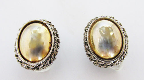 Vintage 1970s Gleaming Signed Gold and Silver Button Earrings