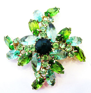 1960s Vintage Jewelry Dazzling Mid-Century Green Diamante Floral Pin - Front