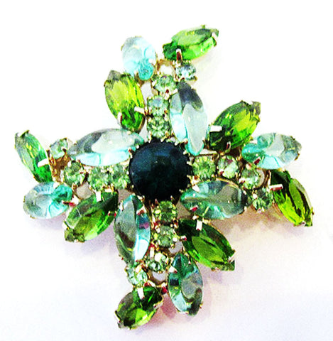Vintage 1960s Dazzling Retro Multi-Colored Green Rhinestone Floral Pin