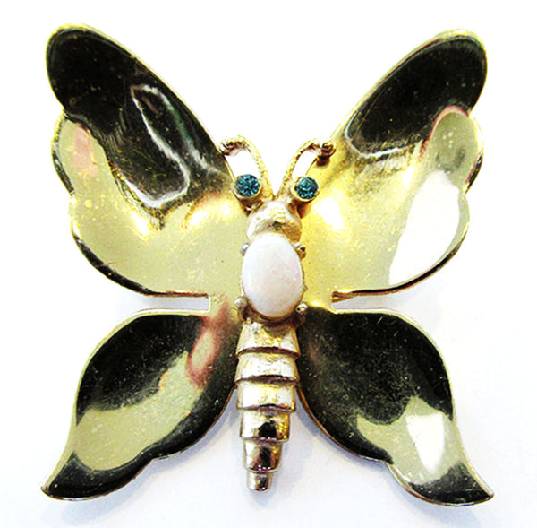 Coro Pegasus 1940s Vintage Jewelry Figural Diamante Butterfly Pin - Front