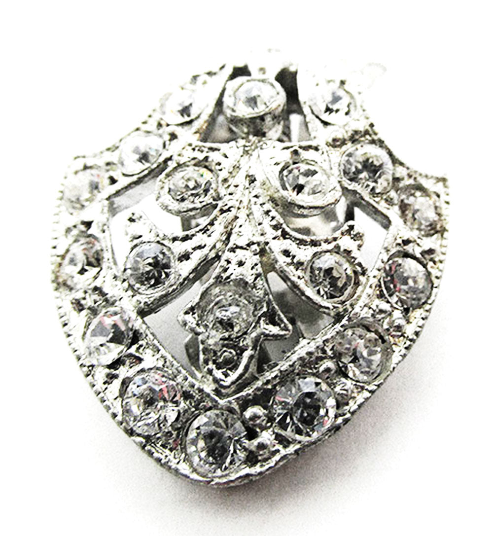 Coro Vintage Designer Jewelry 1930s Art Deco Diamante Dress Clip - Front