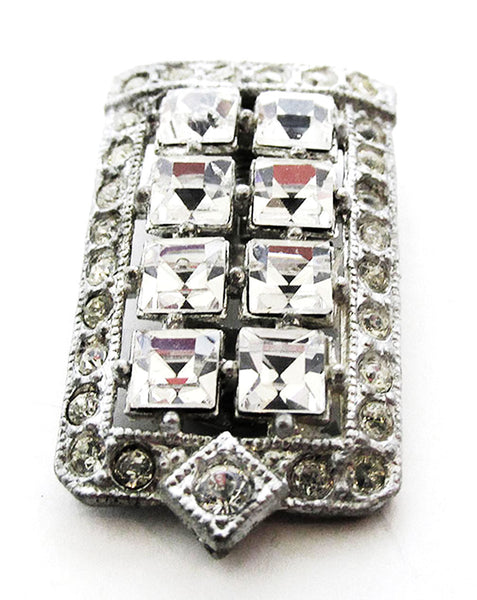 Coro Vintage 1930s Designer Jewelry Art Deco Diamante Dress Clip - Front