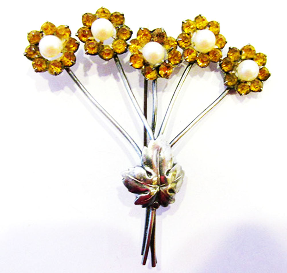 Delightful Vintage 1930s Retro Citrine and Pearl Floral Bouquet Pin