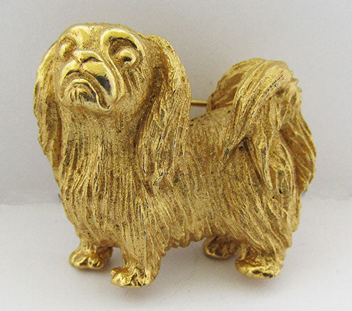 Trifari Vintage 1960s Adorable Pekingese Figural Dog Pin