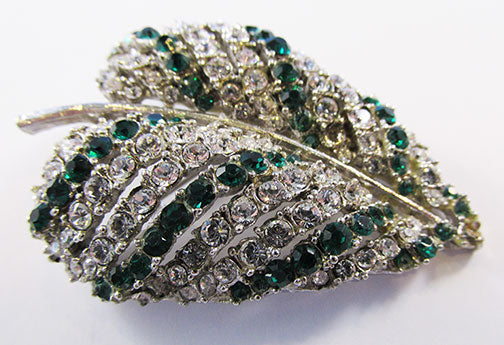 Art Vintage 1950s Emerald and Clear Rhinestone Leaf Pin