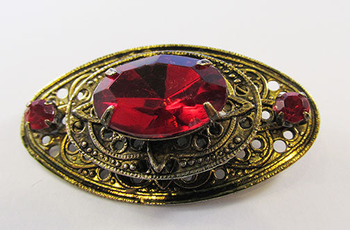 Vintage 1940s Timeless Retro Art Deco Style Ruby Rhinestone Pin