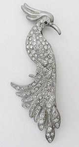 Vintage Retro 1930s Book Piece Sparkling Figural Bird Pin