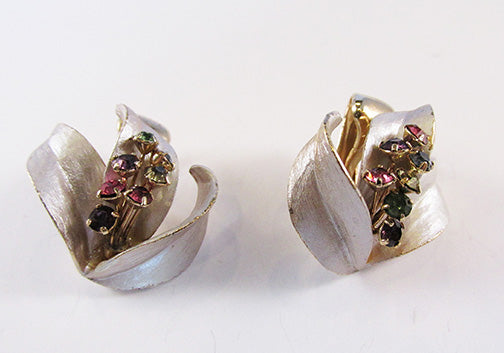 Vintage 1950s Dainty Multi-Colored Rhinestone Floral Earrings