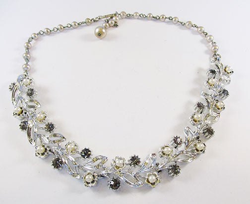 Lisner Vintage Mid Century Rhinestone and Pearl Necklace