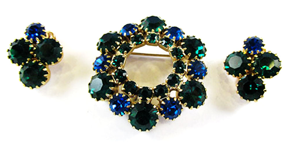 Vintage 1950s Jewelry Sapphire and Emerald Diamante Pin and Earrings - Front