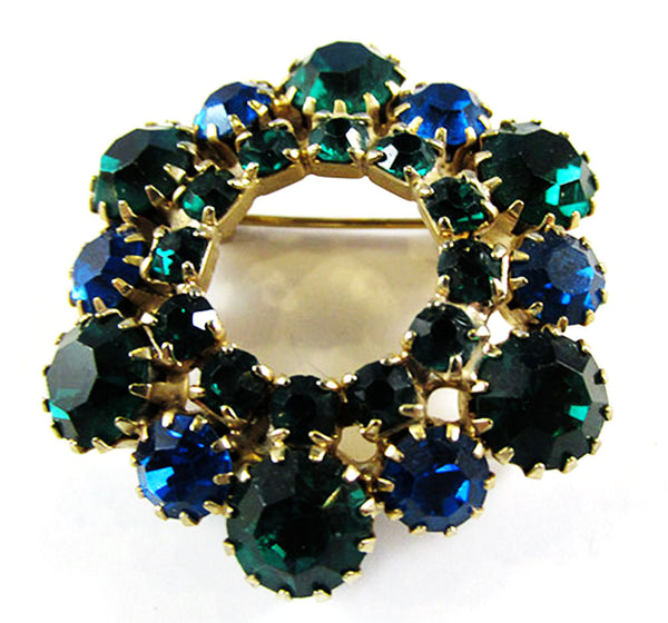 Vintage 1950s Jewelry Sapphire and Emerald Diamante Pin and Earrings - Pin