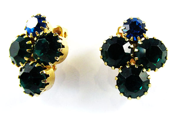 Vintage 1950s Jewelry Sapphire and Emerald Diamante Pin and Earrings - Earrings