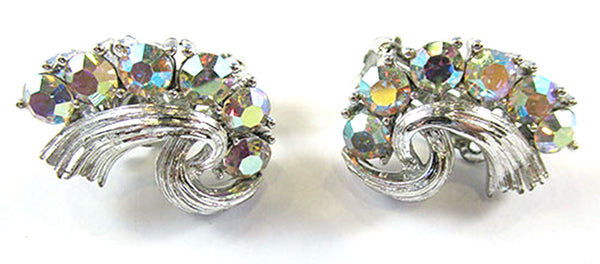 Lisner Vintage 1950s Mid-Century Dazzling Floral Pin and Earrings Set