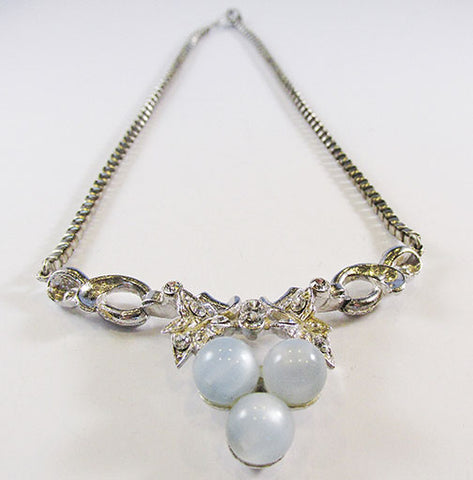 Coro Vintage 1950s Mid-Century Impeccable Blue Moonstone Necklace