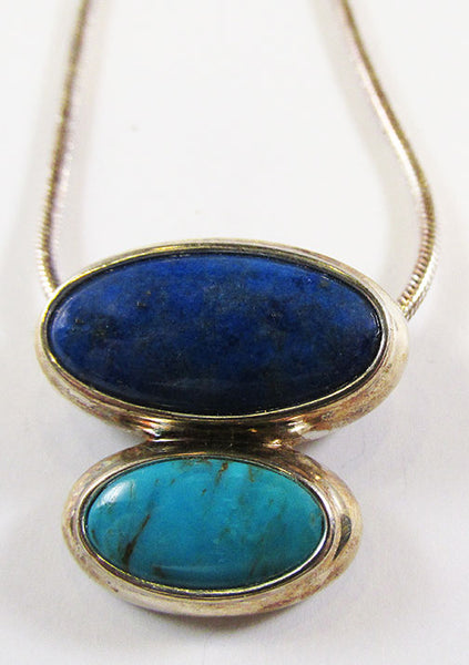 Vintage 1970s Contemporary Style Lapis and Turquoise Sterling Necklace