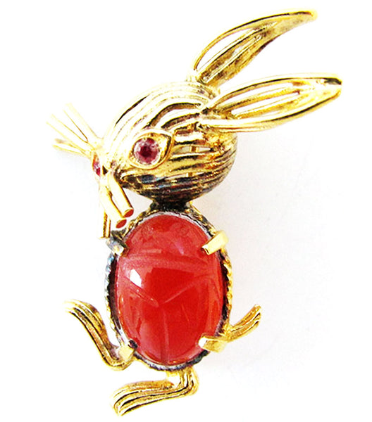 C.R. Co Vintage 1950s Rare Adorable Vermeil Figural Rabbit Pin