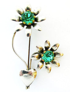 Beautiful Vintage 1940s Retro Rhinestone Floral Spray and Heart Pin