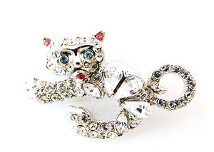 1950s Vintage Jewelry Adorable Mid-Century Whimsical Diamante Cat Pin - Front