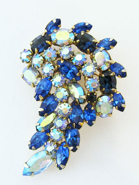 Vintage 1950s Gorgeous Mid Century Shades of Blue Floral Pin