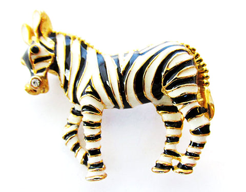 Vintage 1970s Adorable Retro Rhinestone and Enamel Figural Zebra Pin