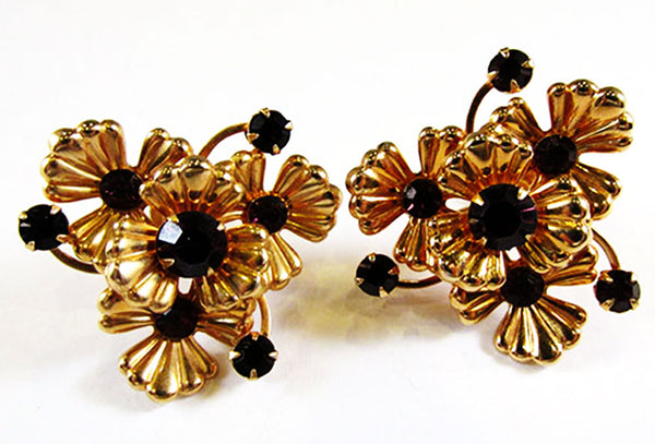Vintage 1950s Mid-Century Avant-Garde Floral Necklace and Earrings Set
