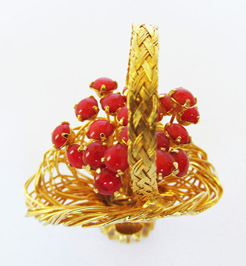 Vintage 1960s Delightful Retro Gold and Coral Floral Basket Pin
