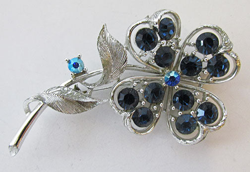 Lisner Vintage Gorgeous Mid Century Sapphire Floral Pin